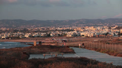 View from the lighthouse hill at Faros Beach place, Paphos city, Cyprus Stock Footage