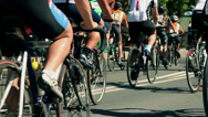 Stock Video Footage of Large crowd of cyclist on road