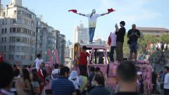 Protestors Holding Turkish Flag Over Vehicle Wreck at Gezi Park Protests Stock Footage