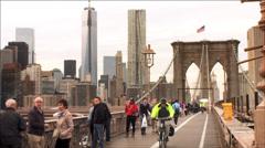 NYC Brooklyn Bridge Freedom tower / world trade center Stock Footage