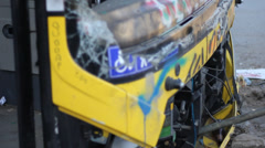 Close Up to A Burned Bus at Gezi Park Protests Turkey Istanbul Stock Footage