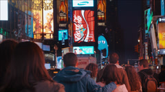 NYC Times square Broadway Crowd Stock Footage