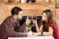 Couple cheers with wine Stock Photos