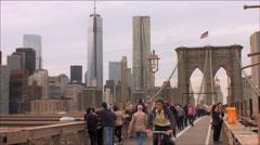 NYC freedom Tower / Brooklyn Bridge Stock Footage