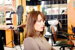 Customer in a hair salon Stock Photos
