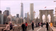NYC 2.5k Brooklyn Bridge Freedom Tower Stock Footage