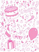 Birthday Doodle - stock illustration