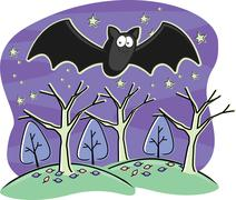 Bat Flying Stock Illustration
