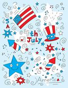 Fourth of July Doodle Stock Illustration