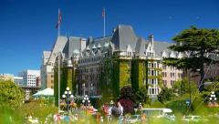 Empress Hotel, Victoria BC, Tourist Season, Fairmont Stock Footage