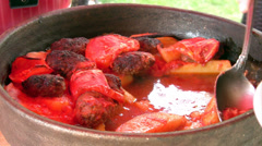 Serving meatball Stock Footage