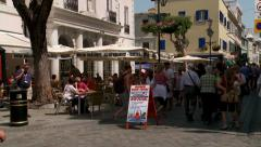 Crowds of tourist on Main Street Gibraltar Stock Footage