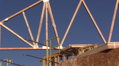 New home building , placing trusses Stock Footage