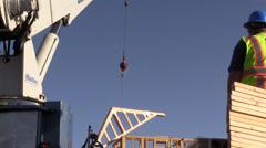 New home building progress, crane trusses Stock Footage