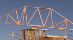 New home building with trusses Stock Footage