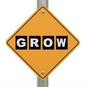 3d road sign grow - stock illustration