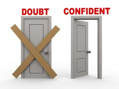 3d doubt and confident doors - stock illustration