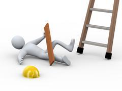 3d injured man - ladder accident Stock Illustration