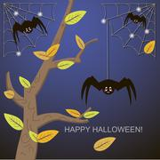 Stock Illustration of Spiders in the web tree