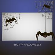 Spiders in the web tree - stock illustration