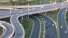 Traffic drives across flyover in Astana, Kazakhstan's new capital Stock Footage
