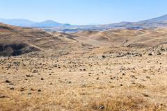 Panorama of zorats karer - plateau in armenia Stock Photos