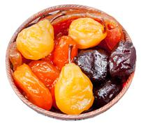 armenian sugared sweet fruits in bowl - stock photo