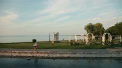 Sailing on Lake Balaton by the coast in Hungary Stock Footage