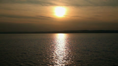 Wide shot of sunset on Lake Balaton in Hungary Stock Footage