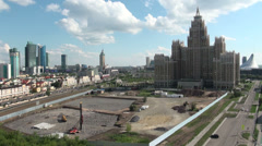'Triumph of Astana' and construction site Stock Footage