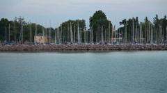 Dock with boats on Lake Balaton in Hungary Stock Footage
