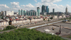 Skyline Astana, construction, highway, traffic Stock Footage