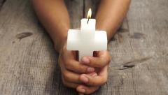 Crucifix candle Stock Footage