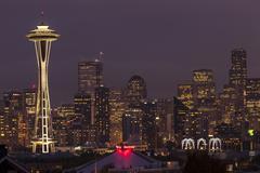 seattle skyline at night. - stock photo