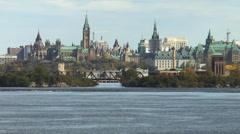 Ottawa Skyline And River Stock Footage