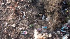 Litter in bushes top view trekking 2 Stock Footage