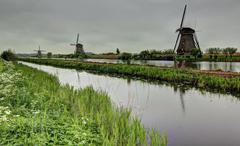 Holland mills landscape Stock Photos