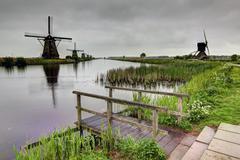 Holland mills view Stock Photos