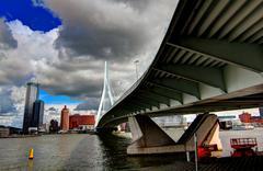 Rotterdam Erasmus bridge - stock photo