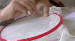 Woman hand embroiders Stock Footage