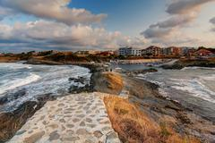 Sea port panorama - stock photo