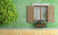 Old house with tree and flower pot Stock Illustration