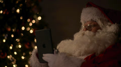 Santa Black Tablet Close Stock Footage