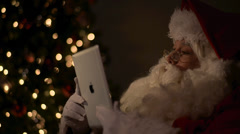 Santa Chair Tablet Close Stock Footage