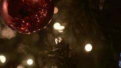 Christmas tree ball red above - stock footage