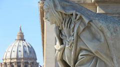 St Peters Dome & religeous statue 3 Stock Footage