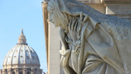 Stock Video Footage of St Peters Dome & religeous statue 3