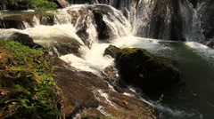 Muaklek waterfall and big stone Stock Footage