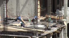 Korean crew at construction site in Astana, Kazakhstan Stock Footage