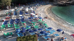 Bay Beach at low season top view zoom in Stock Footage